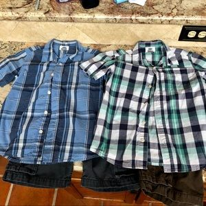 Boys old navy plaid shirts and shorts set size 7